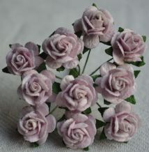 1.5cm PALE LILAC Mulberry Paper Roses